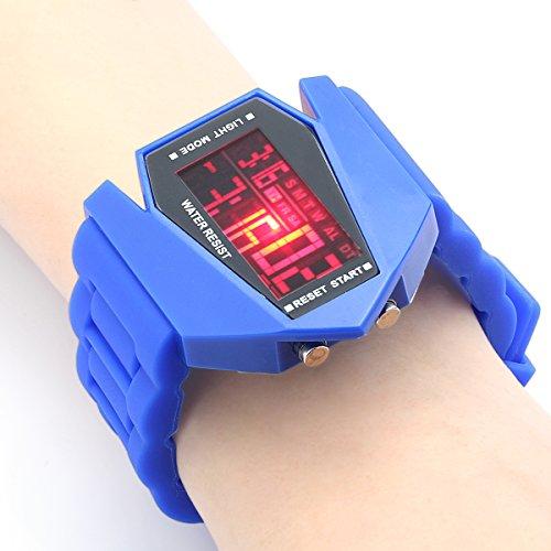 Fashion Digital Display Led Silicone Wirst Watch Plane Style Airplane Pattern (Blue)