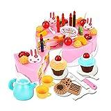 Finer Shop 54Pcs Plástico de la Cocina de Corte de la Torta de Cumpleaños del Juguete Juego de Imaginación Alimentación Conjunto de Juguete para los Niños de las Muchachas - Rosa