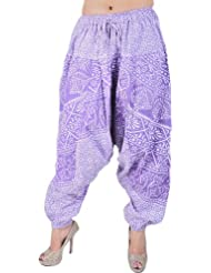 Exotic India Hyacinth-Purple Harem Trousers From Pilkhuwa With Printed - Purple