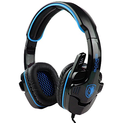 Fortech Sades Model: Sa-708 Stereo Headphone Computer Gaming Headset With Microphone,Blue