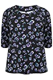 Yoursclothing Plus Size Womens Print Scoop Neckline T-shirt With 3/4 Sleeves
