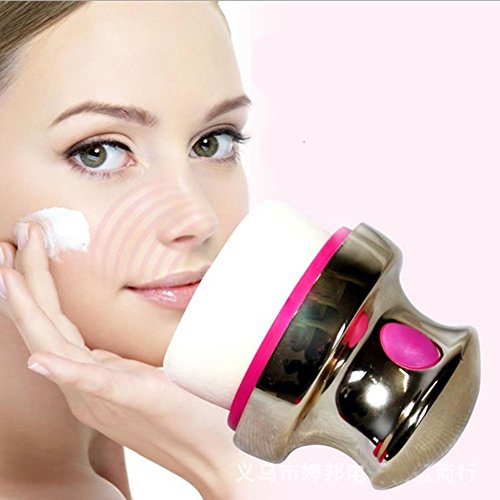 Cexin houppe à poudrer électrique outile de maquillage un vibrateur avec houppette + 2 houppettes un ensemble- photo couleur- violet