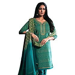 Green Cotton Embroidered Partywear Dress Material