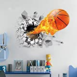 "U-Shark® 3D Self-adhesive Removable Break Through the Wall Vinyl Wall Sticker/Mural Art Decals Decorator (Flying Fire Basketball (19.7"" X 27.6""))"
