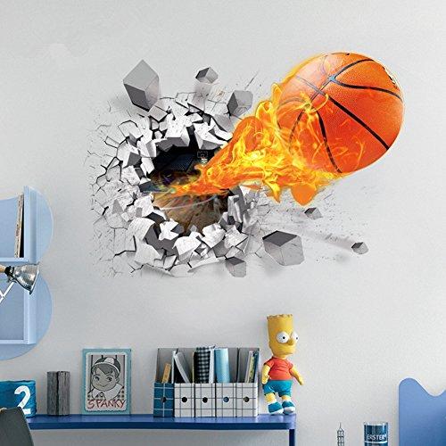 U-Shark 3D Self-adhesive Removable Break Through the Wall Vinyl Wall Sticker/Mural Art Decals Decorator (Flying Fire Basketball (19.7
