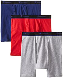 Champion Men\'s 3 Pack Performance Cotton Regular Leg Boxer Briefs, Assorted, Medium
