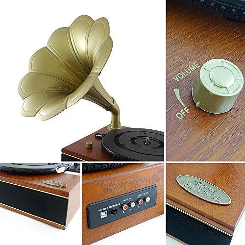Pyle PNGTT12RBT Vintage Classic Bluetooth Turntable Gramophone Phonograph Vinyl Record Player, Vinyl-To-MP3 Recording 2