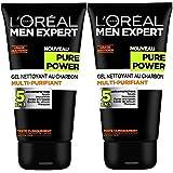 L'Oréal Men Expert Pure Power Gel Nettoyant Homme 5 en 1 Anti-imperfections - Lot de 2