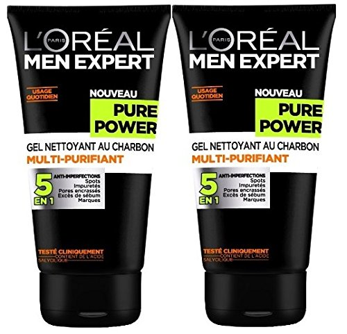 L'Oréal Men Expert, Pure Power, Gel Detergente anti imperfezioni 5 in 1, da uomo, 150 ml, 2 pz.