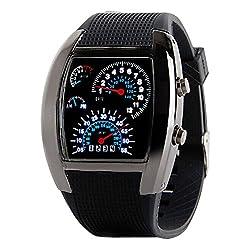 Evana Digital White Dial Women's Speedometer LED Watch (SPEEDOMETER-BLACK2)