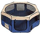 RayGar® PET PLAY PEN FABRIC SOFT FOLDABLE PLAYPEN BLUE FOR DOG PUPPY RABBIT CAT XLARGE 58 X 98cm 8 panels - BRAND NEW