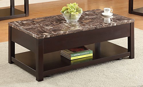 ACME Furniture 82127 Dusty Coffee Table with Lift Top, Faux Marble & Espresso (Espresso Lift Top Table compare prices)