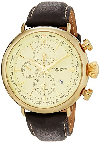Akribos XXIV Men's Explorer Gold-Tone Stainless Steel Brown Leather Watch