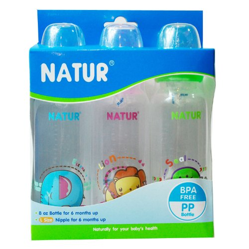 NEW Pack 3 NATUR Baby Feeding Bottles BPA FREE 8 OZ with Size L nipple for 6 months up
