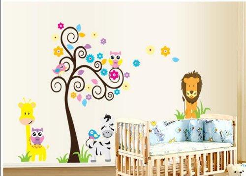 Scroll Jungle Tree Safari Wall Art Decor Baby Nursery Wall Decor Baby Boys Kid'S Wall Sticker Removable Owl Lion Zebra Giraffe Decal Decor front-308000