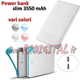 BATTERIA 3500mah SLIM CARD EMERGENZA POWER BANK FORMATO TESSERA SMARTPHONE SAMSUNG USB MICRO 5pin