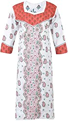 ALMAS Lucknow Chikan Women's Cotton Regular Fit Kurti (White and Red)