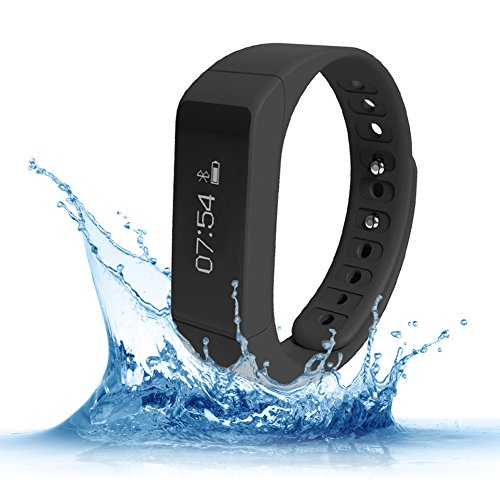 Fitness Trackers,Teslasz I5 plus IP65 Water-resistant Pedometer Bluetooth 4.0 Sleep Monitor Activity Tracker for Android and IOS Smart Phone,Black