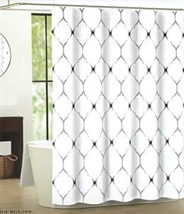 Max Studio Shower Curtain Moroccan Tile Quatrefoil Black