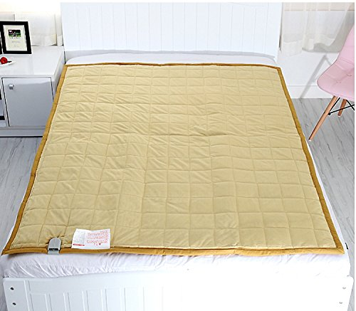 New Electric Heated Blankets Microfiber Gold Color Warm Mattress Pad 110V- 240V Combination L : For Double Bed Size: 53X71Inch (135X180Cm) Lower Energy Cost