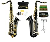 Merano B Flat Black / Gold Tenor Saxophone with Case,Mouth Piece,Screw Driver,Nipper. A pair of gloves, Soft Cleaning Cloth+Music Stand+Metro Tuner+11 Reeds