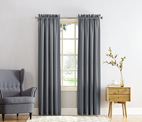 Sun Zero Barrow Energy Efficient Rod Pocket Curtain Panel, 54 x 84 Inch, Smoke Gray (Keep The Heat In compare prices)