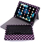 HDE Folding Leather Folio Case Cover Stand w/ Removable Bluetooth Keyboard for iPad 2/3/4 Tablet (Purple Polka Dot)