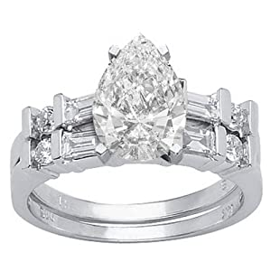 2.31 Carat Pear Cut / Shape GIA Certified 14K White Gold Channel Set Baguette And Round Diamond Wedding Set ( E Color , VS1 Clarity )