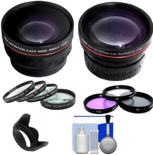 Must Have All In One Lens Kit Includes 2X Telephoto Lens + 0.43X Wide Angle High Definition Lenses + 3Pc Filter Set (Uv, Polarizing, Fluorescent) + Close-Up Set (+1 +2 +4 +10) + 5 Piece Cleaning Kit Lens Hood For Nikon D5100, D3100, D40, D60, D80, D3000,