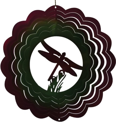 12 Inch Flying Dragonfly Themed Zephyr Spiral Wind Spinner