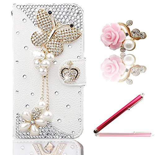 Vandot Zubehör Set 1x 3D Bling Strass Leder Schutzhülle Handyhülle für Smartphone Samsung Galaxy Ace 2 GT-I8160 Smartphone (9,7 cm (3,8 Zoll) Leder Schale Tasche Glitzer Schmetterling Butterfly Tassel Quaste Magnet Blume Diamant Flip Case Kamelien Diamond 3D DIY Hülle Crystal Handy Cover Etui mit Krone Crown + Rosa Metall Touch Pen Stift Stylus + 3.5mm Anti Dust Plug Pink Flower Rhinestone Perle Staubschutz Stöpsel - Weiss Blume Mobile Phone Accessory Purse Portemonnaie Damen Geldbörse Leder Gel