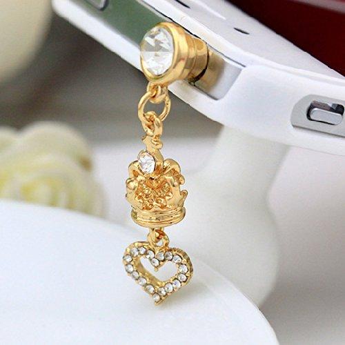 Jade Onlines 3.5Mm Rhinestone Crystal Cellphone Charms Stoppers Earphone Jack Anti Dust Plug Ear Jack Cap(Clear Rhinestone Heart Golden Crown Style)