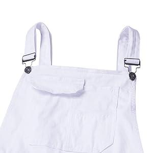 Mekysd Men's Denim Bib Workwear Fashion Denim Jumpsuit Slim Fit Jumpsuit with Pocket (White, XL) (Color: White, Tamaño: X-Large)