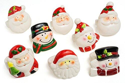 Christmas Decorative Porcelain Napkin Ring 8 pcs set (Peter Pan Musical Snow Globe compare prices)