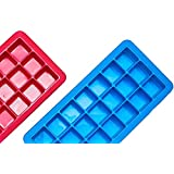 Sonder Silicone Ice Cube Trays, With Lids- Covered 2 pc set with 42 molds-Flexible Rubber Plastic Stackable Mini Cocktail Whiskey Ice Cube Mold Storag (Color: Red Blue, Tamaño: 2x2)