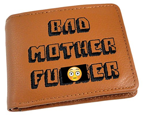 Bad Mother Fu*ker Leather Wallet (Embroidered Light Brown)