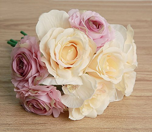 Meiliy Premium Silk Artificial Phalaenopsis Rose Flower Bouquet for Home Wedding Office Party Decoration