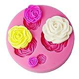 FOUR-C Fondant Decorating Mould 3d Rose Cake Decorating Supplies Color Pink