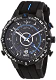 Timex Mens T49859 Intelligent Quartz Adventure Series Tide Temp Compass Black Silicone Strap Watch
