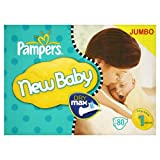 Pampers New Baby Size 1 (4-11 lbs/2-5 kg) Nappies - 1 x Jumbo Pack of 80 (80 Nappies)