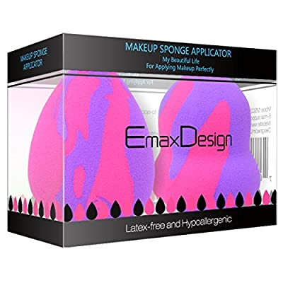 EmaxDesign 2 Pieces Makeup Blender Sponge Set - Random Pattern, Foundation Blending Blush Concealer Eye Face Powder Cream Cosmetics Beauty Makeup Sponges. latex free, non-allergenic and odour free.