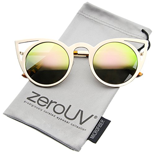 zeroUV – Womens Fashion Round Metal Cut-Out Flash Mirror Lens Cat Eye Sunglasses (Gold / Pink)