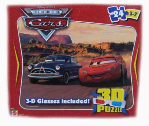 Disney Pixar The World of Cars Lightning McQueen & Doc Hudson 24 Piece Puzzle - Includes 3D Glasses