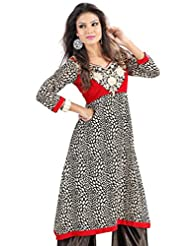 Admyrin Women's Georgette Black And Maroon Embroidered Kurti