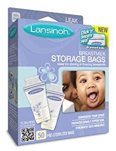 Lansinoh Breast Milk Storage Bags, 50-Count
