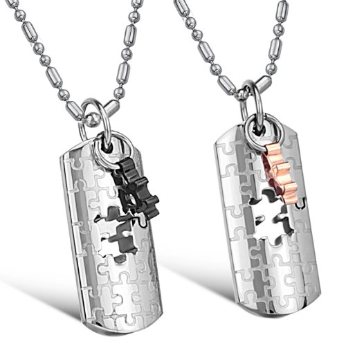 Opk Jewellery Necklaces Stainless Steel Neckwear Love Puzzles Charms Chains Pendants Necklets