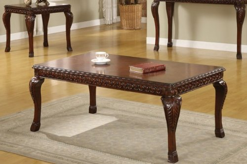 Cheap Coffee Table with Leafy Design Legs in Traditional Espresso Finish (VF_F6230)