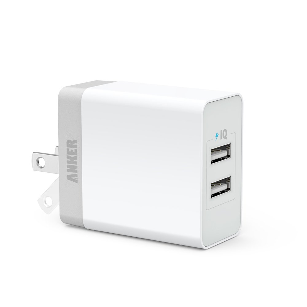 Anker 20W 2-Port USB Wall Charger with Foldable Plug and PowerIQ Technology for Apple iPhone 6 / 6 Plus, iPad Air 2 / mini 3, Samsung Galaxy S6 / S6 Edge, Nexus, HTC M9, Motorola, LG and More (White)