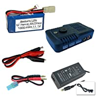 Bastens 1300 mAh LiPo battery and charger upgrade for the Parrot AR.Drone 2.0 & 1.0 - a high capacity alternative replacement battery with a fast charger - 15 to 20 minute flight time and roughly 40 min charge time from Bastens