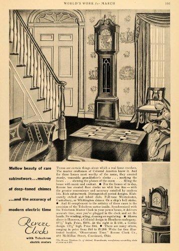 1930 Ad Revere Clocks Telechron Electric Motors Models - Original Print Ad